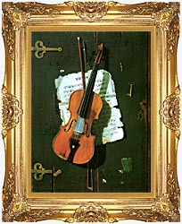 John Frederick Peto The Old Violin canvas with Majestic Gold frame