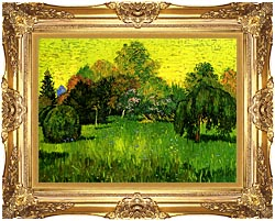 Vincent Van Gogh Public Park With Weeping Willow The Poets Garden I canvas with Majestic Gold frame