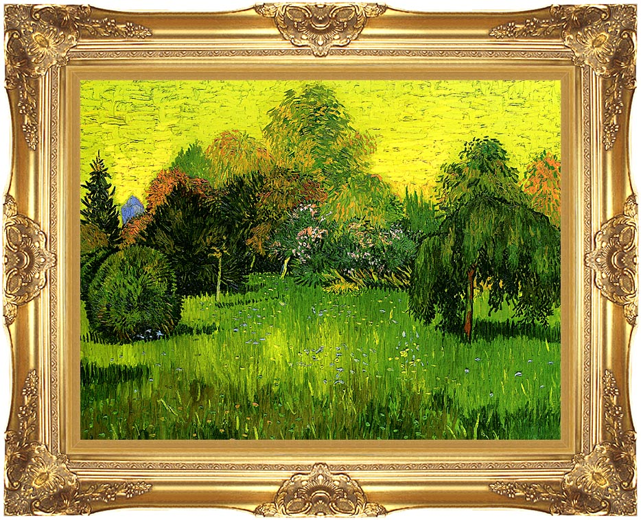 Vincent van Gogh Public Park with Weeping Willow: The Poet's Garden I with Majestic Gold Frame