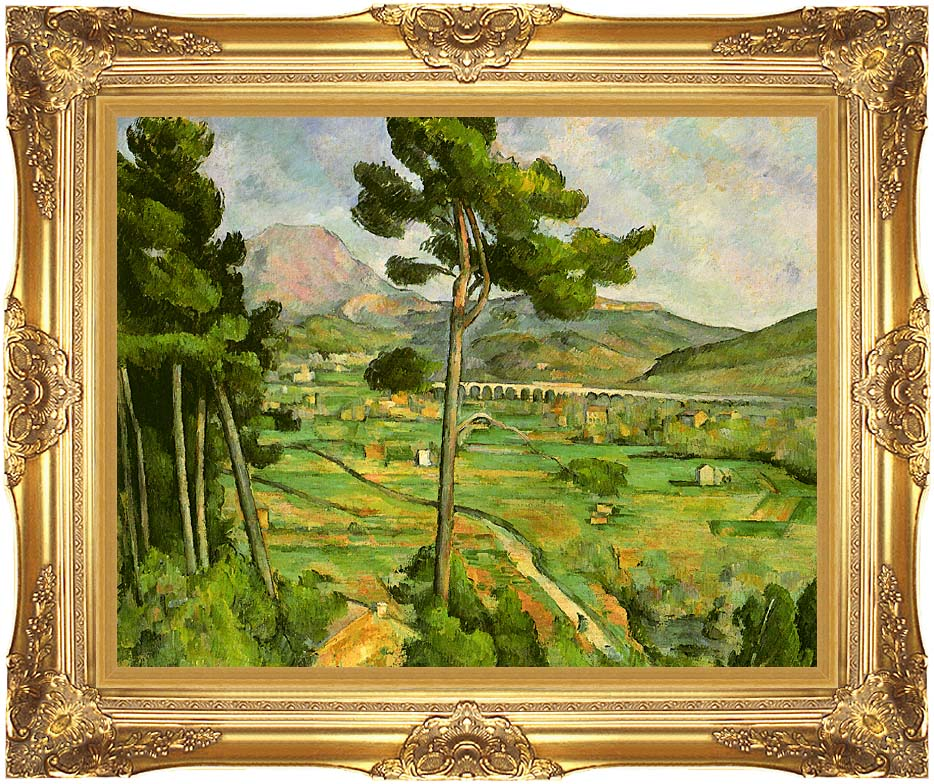 Paul Cezanne Mont Sainte-Victoire seen from Bellevue with Majestic Gold Frame