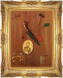 John Frederick Peto Reminiscences Of 1865 canvas with Majestic Gold frame