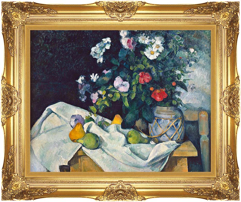 Paul Cezanne Flowers and Pears with Majestic Gold Frame