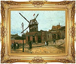 Vincent Van Gogh Le Moulin De La Galette canvas with Majestic Gold frame