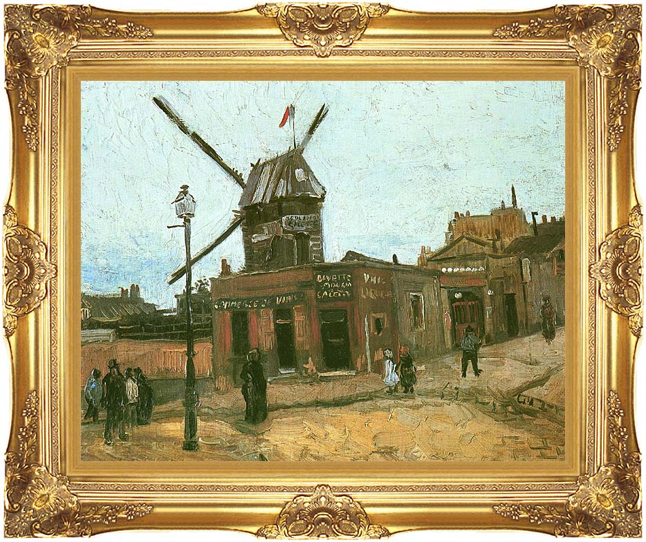 Vincent van Gogh Le Moulin de la Galette with Majestic Gold Frame