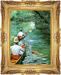 Gustave Caillebotte Canoeing canvas with Majestic Gold frame