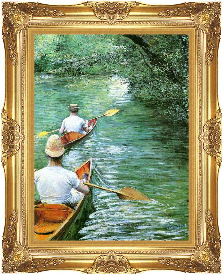 Gustave Caillebotte Canoeing with Majestic Gold Frame