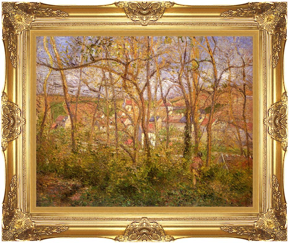Camille Pissarro Wooded Landscape at L'Hermitage, Pontoise with Majestic Gold Frame