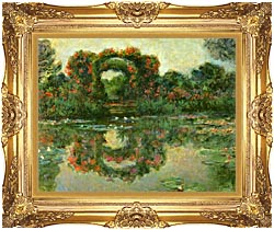 Claude Monet The Flowering Arches Giverny Detail canvas with Majestic Gold frame