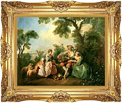 Nicolas Lancret The Birdcage canvas with Majestic Gold frame