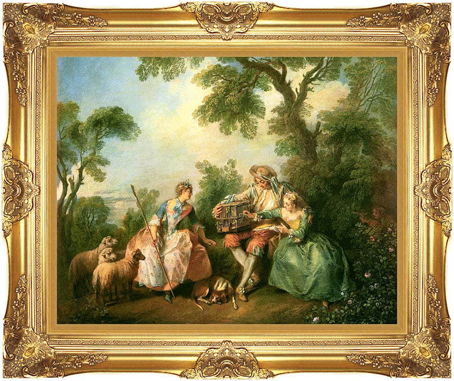 Nicolas Lancret The Birdcage with Majestic Gold Frame