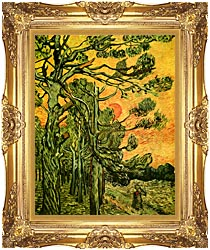 Vincent Van Gogh Pine Trees Against A Red Sky With Setting Sun canvas with Majestic Gold frame