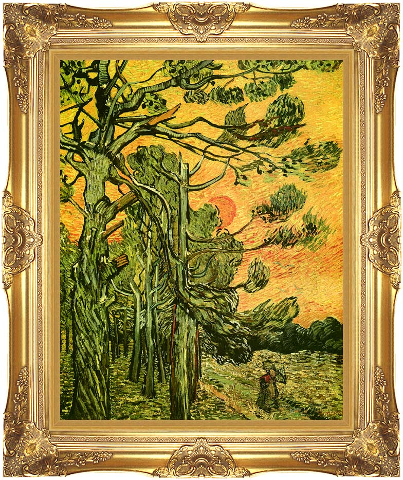 Vincent van Gogh Pine Trees Against a Red Sky with Setting Sun with Majestic Gold Frame