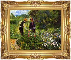 Pierre Auguste Renoir Conversation With The Gardener canvas with Majestic Gold frame