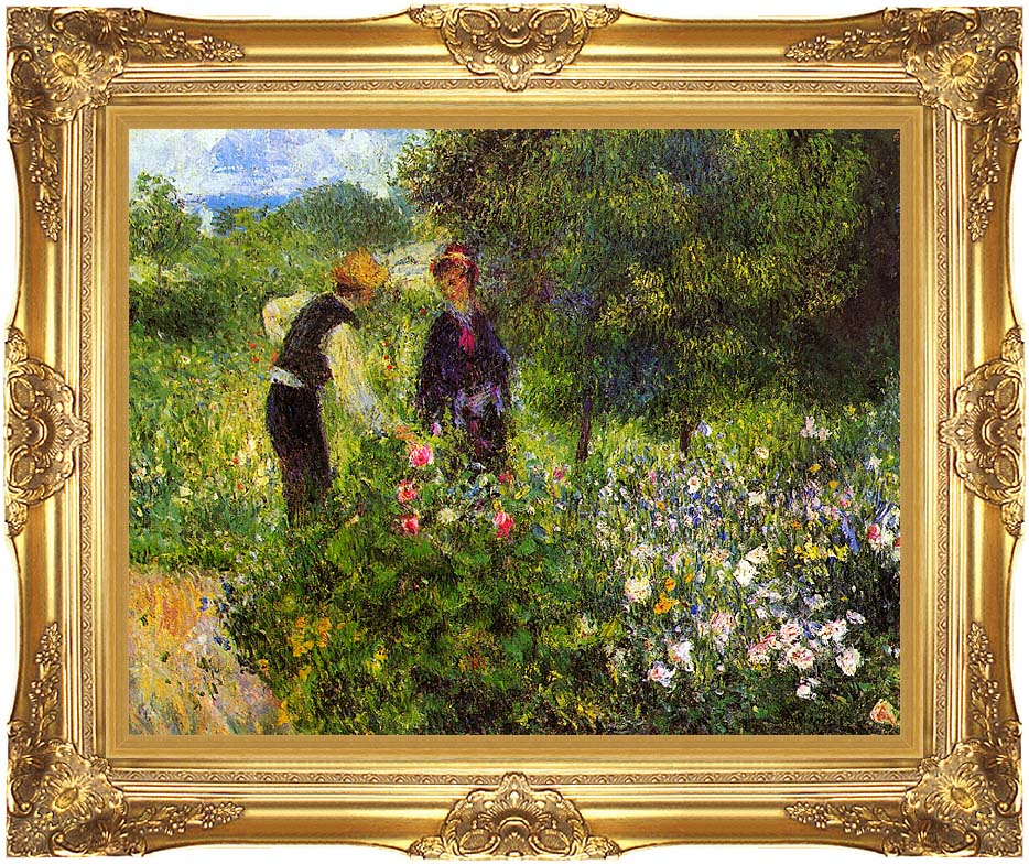 Pierre Auguste Renoir Conversation with the Gardener with Majestic Gold Frame