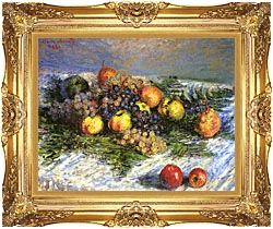Claude Monet Pears And Grapes canvas with Majestic Gold frame