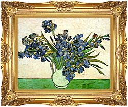 Vincent Van Gogh Still Life Vase With Irises canvas with Majestic Gold frame
