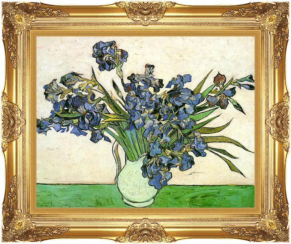 Vincent van Gogh Still Life: Vase with Irises with Majestic Gold Frame