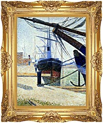 Georges Seurat The Harbor At Honfleur canvas with Majestic Gold frame