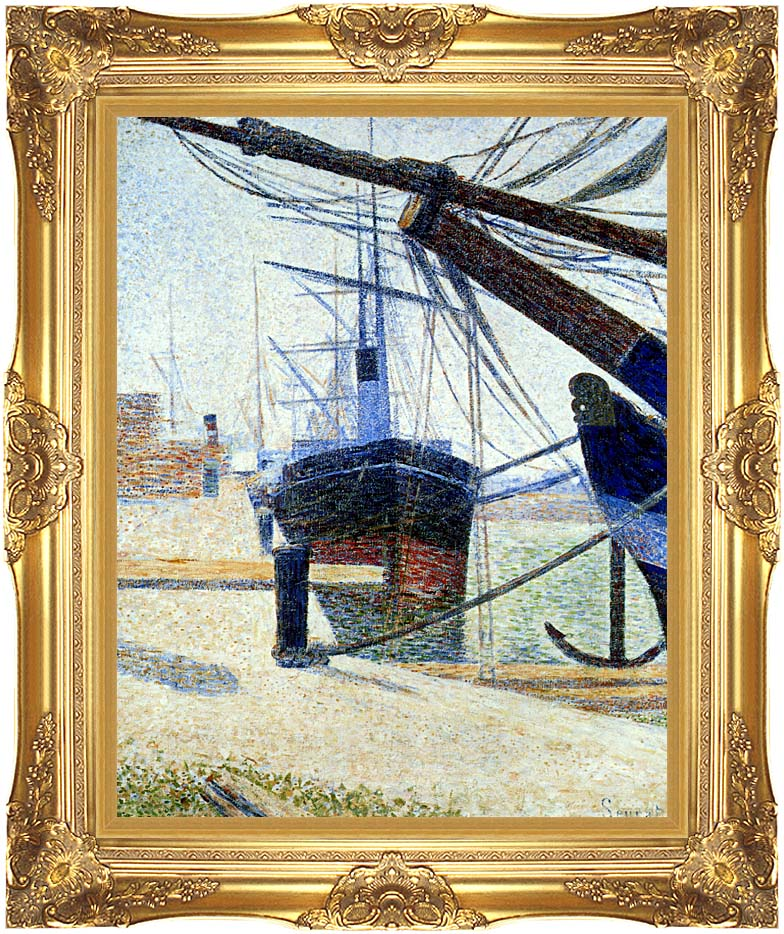 Georges Seurat The Harbor at Honfleur with Majestic Gold Frame