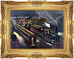 Currier And Ives Night Scene At A Railroad Junction canvas with Majestic Gold frame
