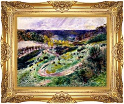 Pierre Auguste Renoir Road At Wargemont canvas with Majestic Gold frame