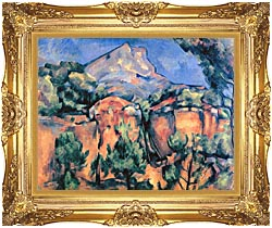 Paul Cezanne Mont Sainte Victoire Seen From Bibemus canvas with Majestic Gold frame