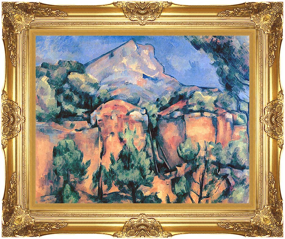 Paul Cezanne Mont Sainte-Victoire seen from Bibemus with Majestic Gold Frame