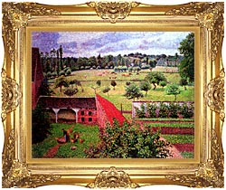 Camille Pissarro View From The Artists Window At Eragny canvas with Majestic Gold frame