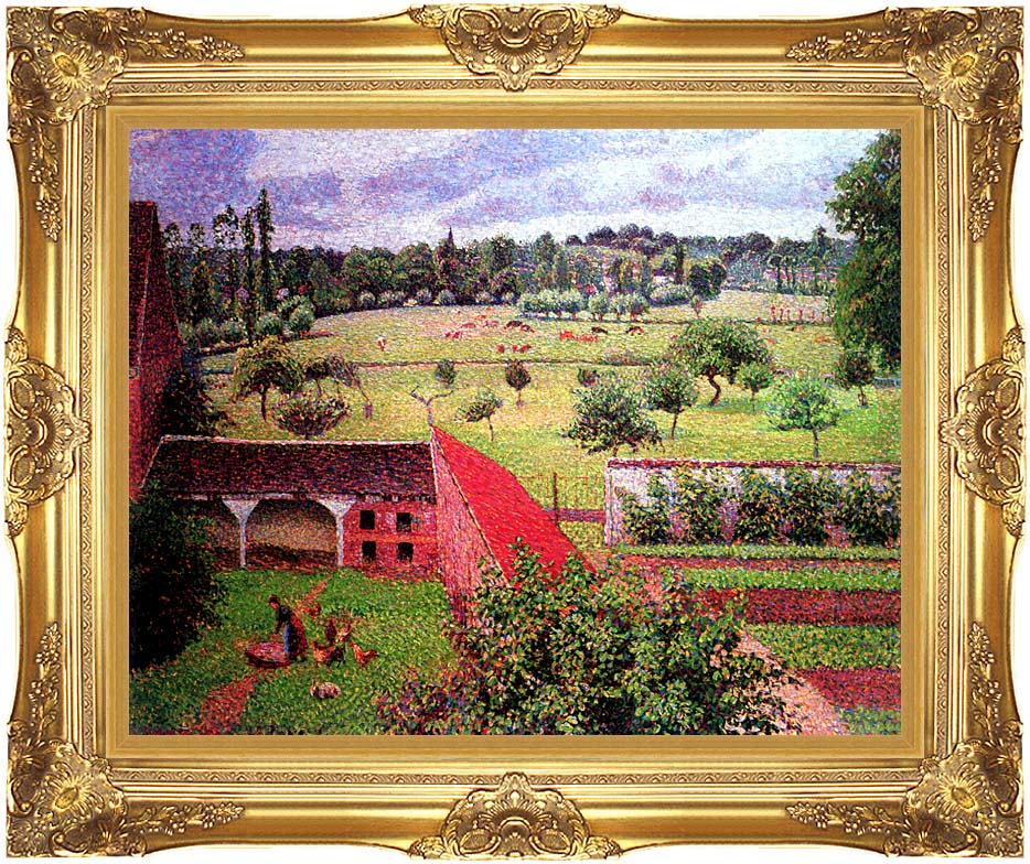 Camille Pissarro View from the Artist's Window at Eragny with Majestic Gold Frame