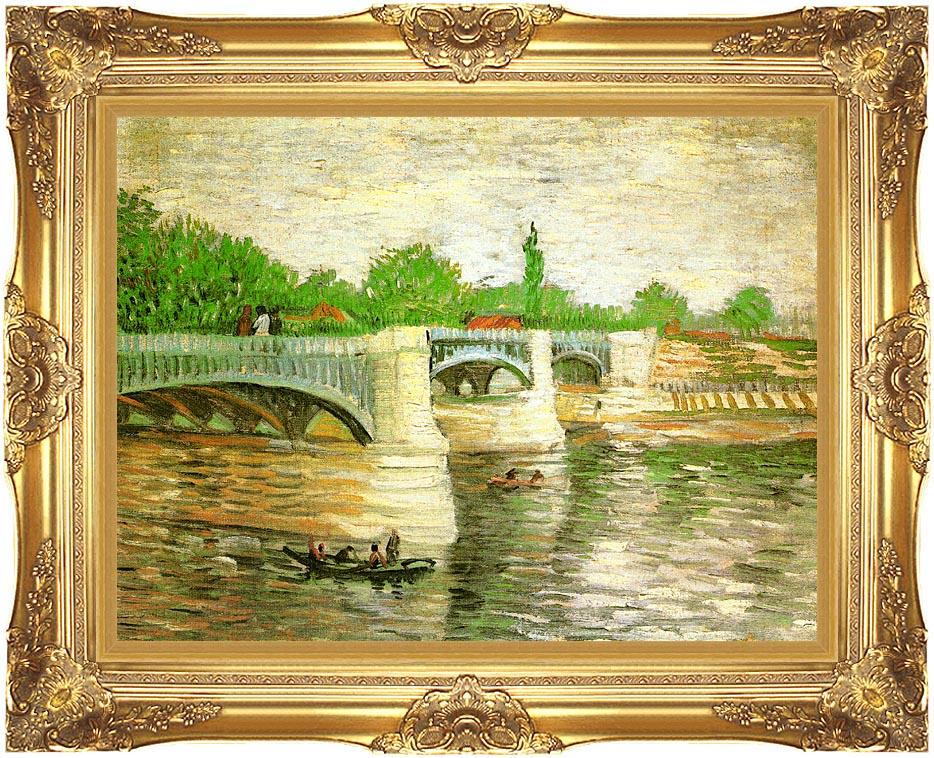 Vincent van Gogh Pont de la Grande Jatte with Majestic Gold Frame