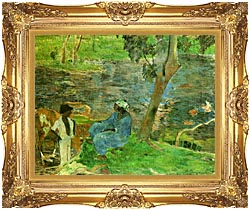 Paul Gauguin By The Pond canvas with Majestic Gold frame