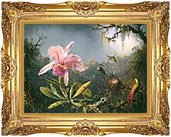 Martin Johnson Heade Cattleya Orchid And Three Brazilian Hummingbirds canvas with Majestic Gold frame