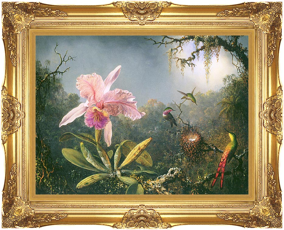 Martin Johnson Heade Cattleya Orchid and Three Brazilian Hummingbirds with Majestic Gold Frame