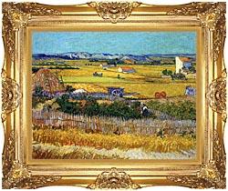 Vincent Van Gogh Harvest At La Crau canvas with Majestic Gold frame