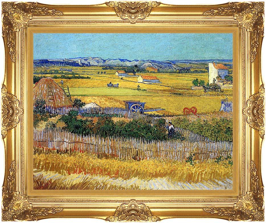 Vincent van Gogh Harvest at La Crau with Majestic Gold Frame