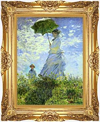 Claude Monet Woman With A Parasol canvas with Majestic Gold frame