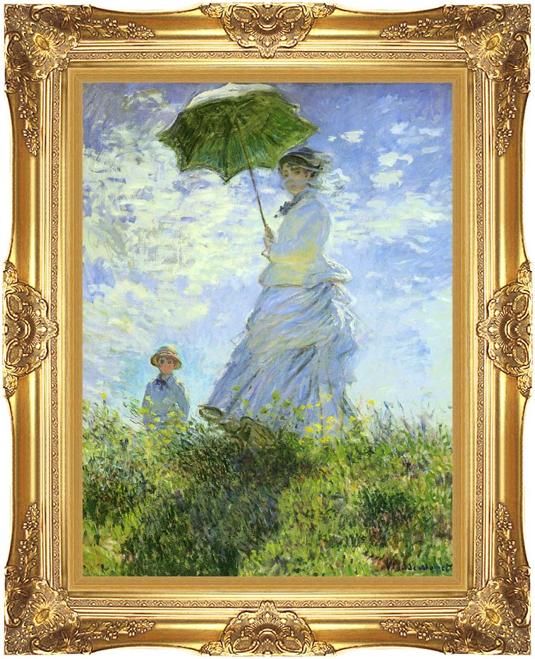Claude Monet Woman with a Parasol with Majestic Gold Frame