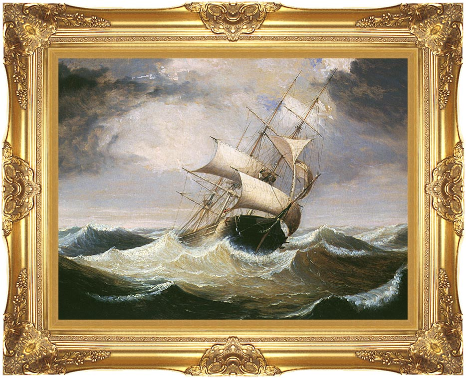 Fitz Hugh Lane Three-Master on Rough Sea with Majestic Gold Frame