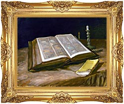 Vincent Van Gogh Still Life With Open Bible canvas with Majestic Gold frame