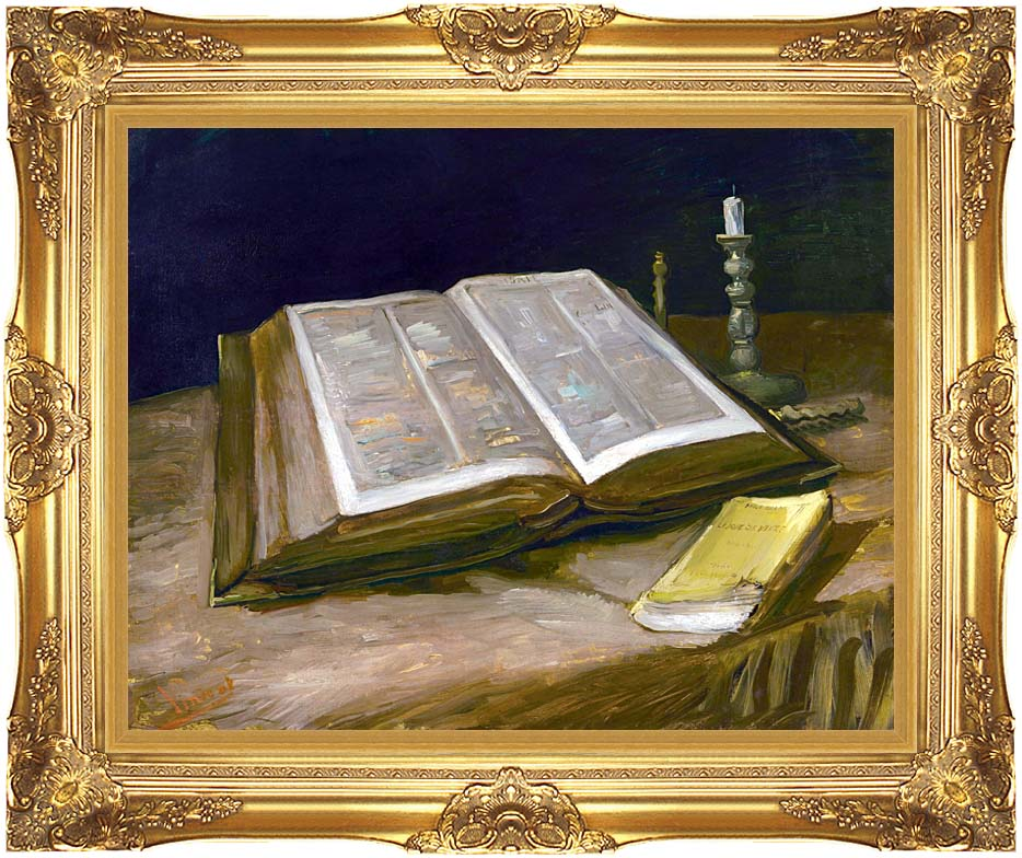 Vincent van Gogh Still Life with Open Bible with Majestic Gold Frame