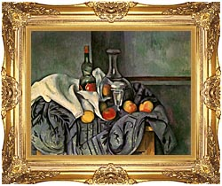 Paul Cezanne Still Life With Peppermint Bottle canvas with Majestic Gold frame