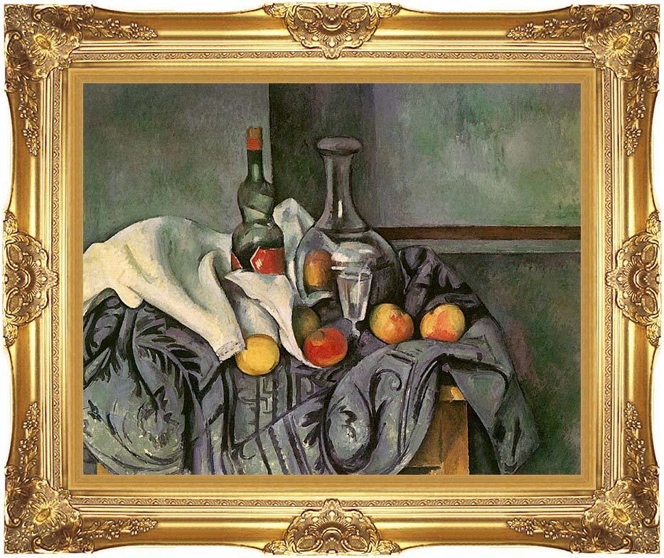 Paul Cezanne Still Life with Peppermint Bottle with Majestic Gold Frame