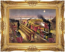 Currier And Ives Night Scene At An American Railway Junction canvas with Majestic Gold frame