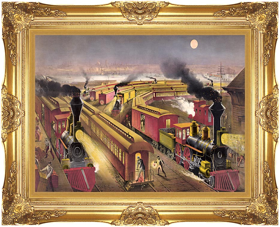 Currier and Ives Night Scene at an American Railway Junction with Majestic Gold Frame