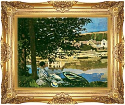 Claude Monet On The Seine At Bennecourt canvas with Majestic Gold frame