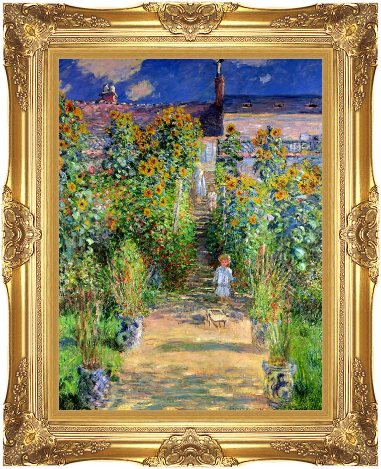 Claude Monet The Artist's Garden at Vetheuil with Majestic Gold Frame