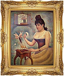 Georges Seurat Young Woman Powdering Herself canvas with Majestic Gold frame