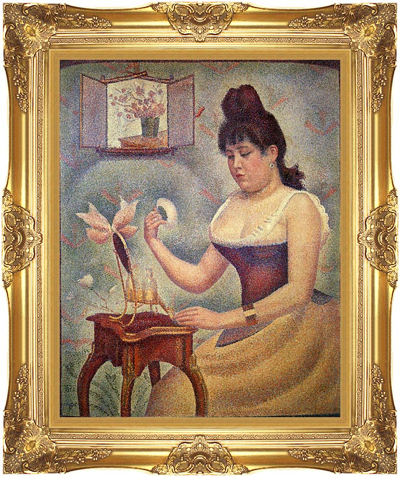 Georges Seurat Young Woman Powdering Herself with Majestic Gold Frame