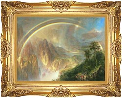 Frederic Edwin Church Rainy Season In The Tropics Detail canvas with Majestic Gold frame