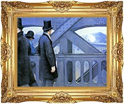 Gustave Caillebotte The Europe Bridge canvas with Majestic Gold frame
